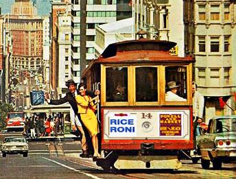 Vintage picture of a San Francisco cable car with a Rice a Roni ad